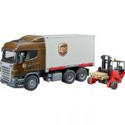 Ciężarówka Scania UPS z wózkiem widłowym
