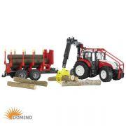 Traktor Steyr CVT 6230 z HDS, przyczepą leśną i belami