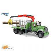 Zabawka ciężarówka do przewozu drewna z żurawiem Mack Granite